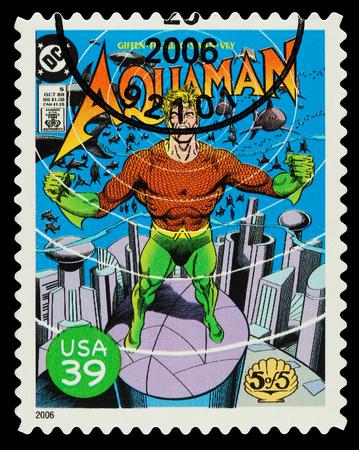 super macro: United States - CIRCA 2006  A Used Postage Stamp showing the Superhero Aquaman, circa 2006