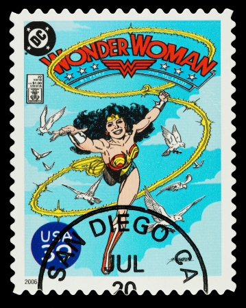 United States - CIRCA 2006  A Used Postage Stamp showing the Superhero Wonder Woman, circa 2006 Editorial