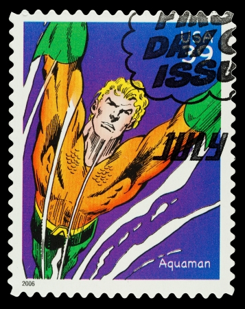 United States - CIRCA 2006  A Used Postage Stamp showing the Superhero Aqauman, circa 2006 Editorial