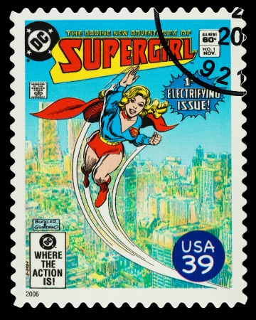 supergirl: United States - CIRCA 2006  A Used Postage Stamp showing the Superhero Supergirl, circa 2006