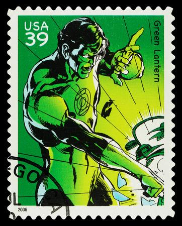 super macro: United States - CIRCA 2006  A Used Postage Stamp showing the Superhero Green Lantern, circa 2006
