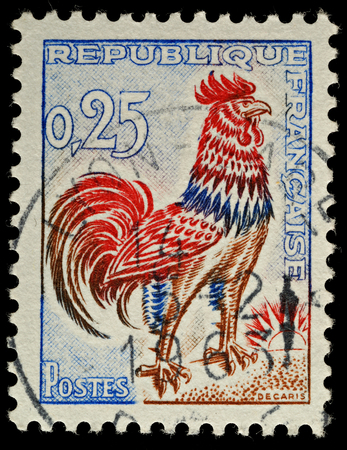 FRANCE - CIRCA 1962  A French Used Postage Stamp,showing a Gallic Cock circa 1962