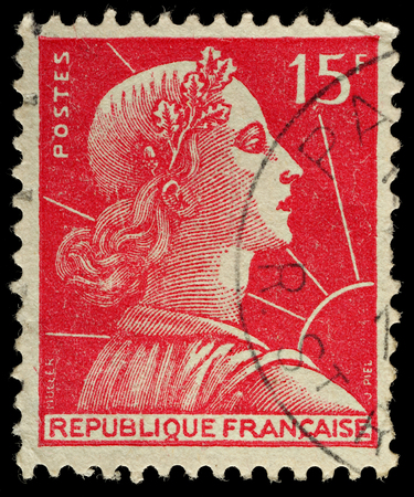 stamp collecting: FRANCE - CIRCA 1955  A French Used Postage Stamp, circa 1955