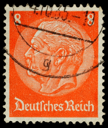 stamp collecting: GERMANY - CIRCA 1933  A German Used Postage Stamp showing President Hindenburg, circa 1933