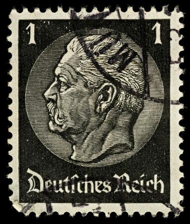 GERMANY - CIRCA 1933  A German Used Postage Stamp showing President Hindenburg, circa 1933