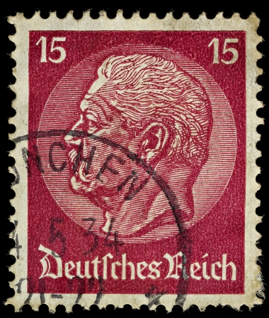 hindenburg: GERMANY - CIRCA 1933  A German Used Postage Stamp showing President Hindenburg, circa 1933