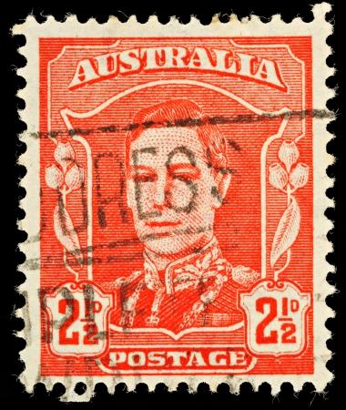 stamp collecting: AUSTRALIA - CIRCA 1942  An Australian Used Postage Stamp showing King George VI, circa 1942