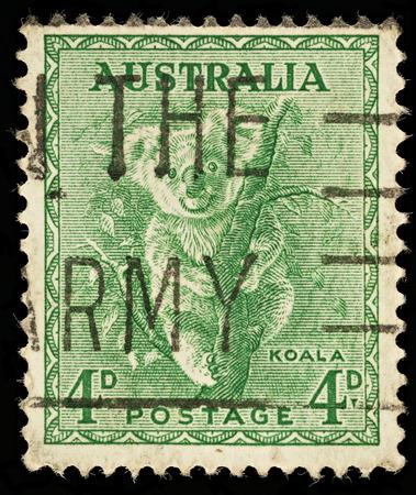 AUSTRALIA - CIRCA 1937  An Australian Used Postage Stamp showing a Koala, circa 1937