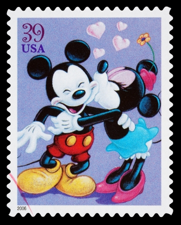 cancelled stamp: United States - CIRCA 2006: A Used Postage Stamp printed in the United States, showing Mickey Mouse and Minnie Mouse Kissing, circa 2006 Editorial