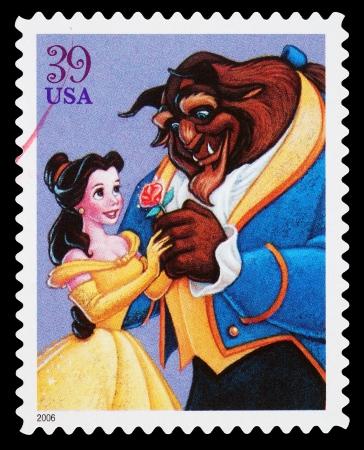 Estados Unidos - alrededor de 2006: Un sello usado impreso en los Estados Unidos, mostrando la Bella y la Bestia baile, alrededor del año 2006 Editorial