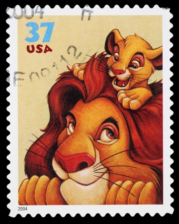United States - CIRCA 2004: A Used Postage Stamp printed in the United States, showing Mufasa and Simba from the Lion King Film, circa 2004