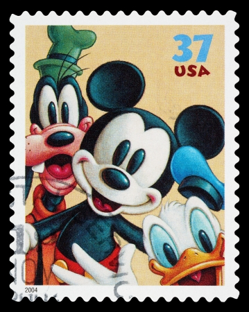 canceled: United States - CIRCA 2004: A Used Postage Stamp printed in the United States, showing Mickey Mouse, Goofy and Donald Duck, circa 2004