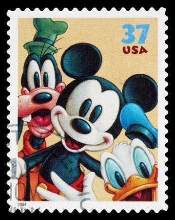 Verenigde Staten - CIRCA 2004: Een gebruikt post stempel gedrukt in de Verenigde Staten, met Mickey Mouse, Goofy en Donald Duck, circa 2004 Redactioneel