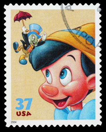 United States - CIRCA 2004: A Used Postage Stamp printed in the United States, showing Pinocchio and Jiminy Cricket, circa 2004 Editorial