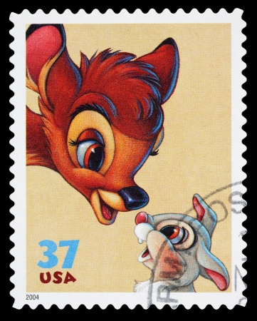 philately: United States - CIRCA 2004: A Used Postage Stamp printed in the United States, showing Bambi and Thumper from the Film Bambi, circa 2004