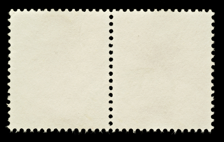 Pair of Blank Postage Stamps Isolated on Black Bacground