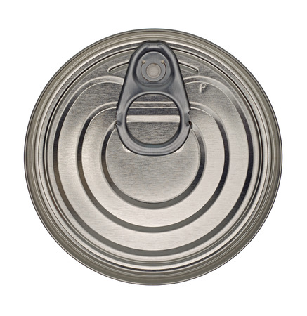 Food Tin Can Lid Isolated on White Background photo