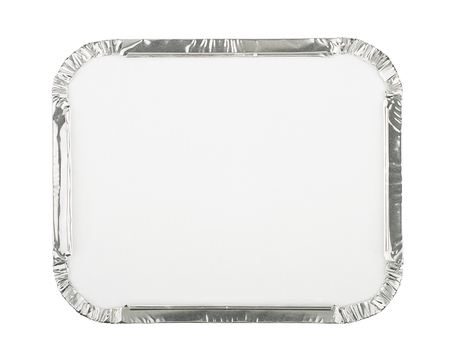 Foil Food Container Tray with Blank White Lid photo