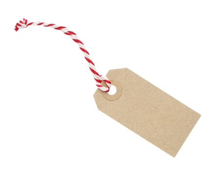 Blank Cardboard Tag Labe with Red and White String Isolated on White Background photo