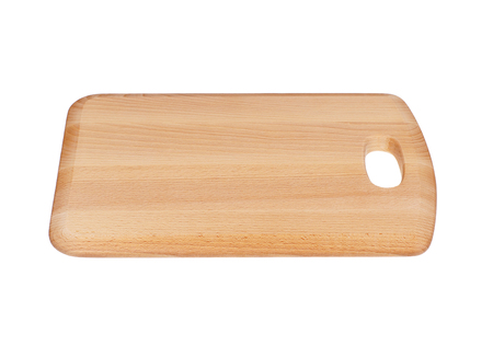 Wooden Chopping Board Block Isolated on White Stock Photo