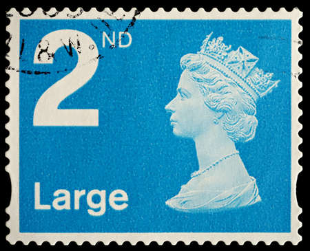 UNITED KINGDOM - CIRCA 2006: An English Used Second Class Large Letter Postage Stamp showing Portrait of Queen Elizabeth 2nd, circa 2006  Editorial
