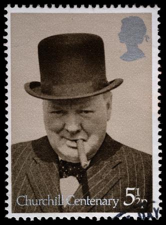 winston: UNITED KINGDOM - CIRCA 1974: British Used Postage Stamp showing Sir Winston Churchill, circa 1974  Editorial