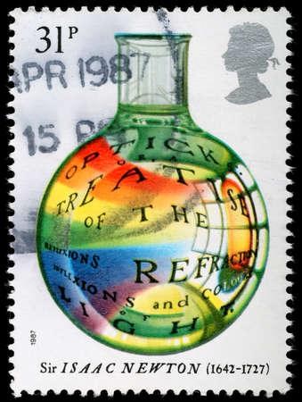 treatise: UNITED KINGDOM - CIRCA 1987 : A British Used Postage Stamp celebrating Sir Isaac Newton Optick Treatise, circa 1987