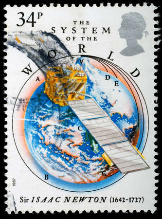 isaac newton: UNITED KINGDOM - CIRCA 1987 : A British Used Postage Stamp celebrating Sir Isaac Newton and The System of the World, circa 1987 Editorial