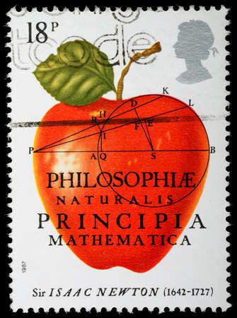 UNITED KINGDOM - CIRCA 1987 : A British Used Postage Stamp celebrating Sir Isaac Newton The Principia Mathematica, circa 1987
