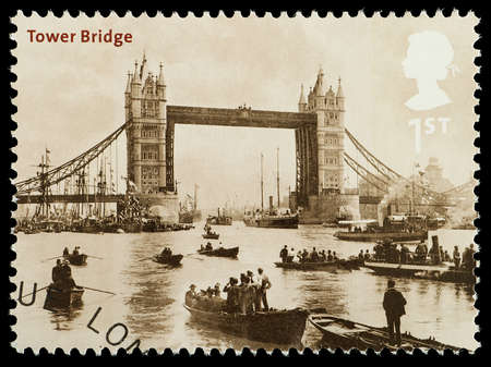 UNITED KINGDOM - CIRCA 2002 : A British Used Postage Stamp showing Tower Bridge as it looked in 1894 London, circa 2002