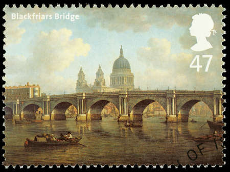 blackfriars bridge: UNITED KINGDOM - CIRCA 2002 : A British Used Postage Stamp showing Blackfriars Bridge as it looked in circa 1800 London, with Saint Pauls Cathedral in the Background, circa 2002  Editorial