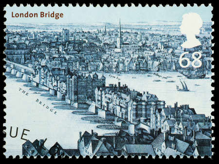 looked: UNITED KINGDOM - CIRCA 2002 : A British Used Postage Stamp showing London Bridge as it looked in circa 1670 London, circa 2002  Editorial