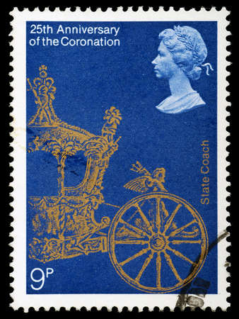 UNITED KINGDOM - CIRCA 1978: British Postage Stamp celebrating the 25th Anniversary of the Coronation of Queen Elizabeth 2nd, showing the State Coach, circa 1978