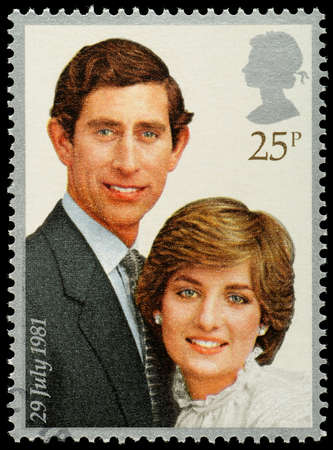 spencer: UNITED KINGDOM - CIRCA 1981: A British Used Postage Stamp celebrating the Royal Wedding of Prince Charles and Lady Diana Spencer, circa 1981