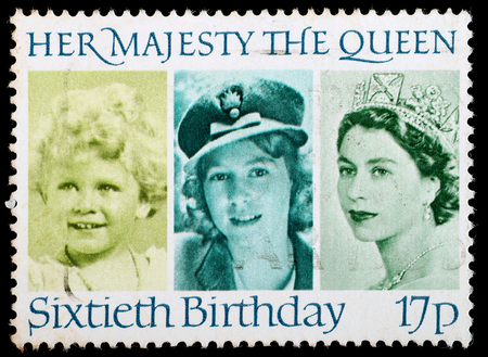 UNITED KINGDOM - CIRCA 1986: British Used Postage Stamp celebrating the 60th Birthday of Queen Elizabeth 2nd, circa 1986  Editorial