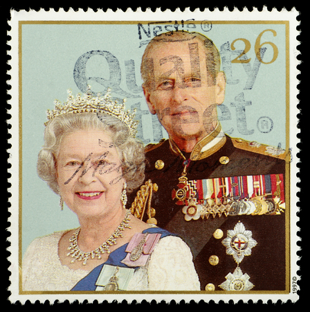 elizabeth: UNITED KINGDOM - CIRCA 1997: British Postage Stamp celebrating the Golden Anniversary of the Royal Wedding in 1947 of Queen Elizabeth 2nd, circa 1997