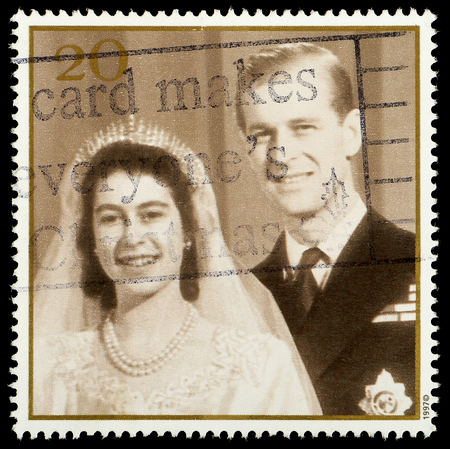 elizabeth: UNITED KINGDOM - CIRCA 1997: British Postage Stamp celebrating the Golden Anniversary of the 1947 Royal Wedding of Queen Elizabeth 2nd, showing wedding picture, circa 1997