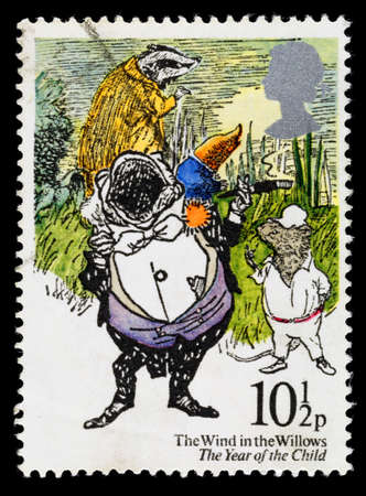 ratty: UNITED KINGDOM - CIRCA 1979: A used postage stamp printed in Britain showing the Wind in the Willows by Kenneth Grahame, circa 1979