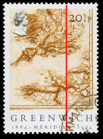 UNITED KINGDOM - CIRCA 1984: A used postage stamp printed in Britain celebrating the Centenary of the Greenwich Merdian, circa 1984
