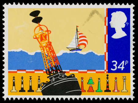 UNITED KINGDOM - CIRCA 1985: A used postage stamp printed in Britain showing a Navigation Buoy for Safety at Sea, circa 1985