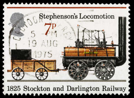 locomotion: UNITED KINGDOM - CIRCA 1975: A used postage stamp printed in Britain celebrating the 150th Anniversary of the Public Railways showing Stephensons Locomotion from 1825 and the Stockton and Darlington Railway, circa 1975 Editorial