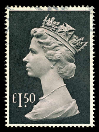 pence: UNITED KINGDOM - CIRCA 1977 to 1987  An English One Pound and Fifty Pence Used Postage Stamp showing Portrait of Queen Elizabeth 2nd, circa 1977 to 1987
