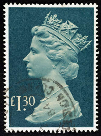 pence: UNITED KINGDOM - 1977 - 1984  An English �1 30 Used Postage Stamp showing Portrait of Queen Elizabeth 2nd, 1977 - 1984