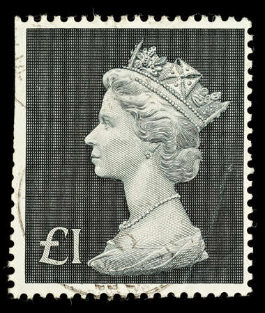 pence: UNITED KINGDOM - CIRCA 1970 to 1972  An English One Pound Used Postage Stamp showing Portrait of Queen Elizabeth 2nd, circa 1970 to 1972