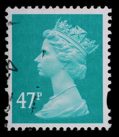 Regno Unito - CIRCA 1993-2007: un inglese utilizzato francobollo mostrando ritratto della Regina Elisabetta 2nd, circa 1993-2007 Editoriali