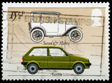 UNITED KINGDOM - CIRCA 1982: A British Used Postage Stamp celebrating the British Motor Industry, showing an Austin 7Seven and Austin Metro circa 1982