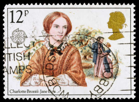 jane: UNITED KINGDOM - CIRCA 1980: A used postage stamp printed in Britain celebrating Famous Authoresses, showing Charlotte Bronte and jane Eyre, circa 1980