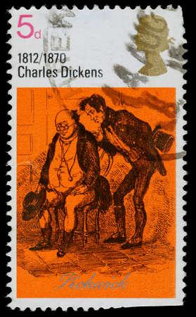REGNO UNITO - CIRCA 1970: Un francobollo stampato in Gran Bretagna usato mostrando MrPickwick dal libro Circolo Pickwick di Charles Dickens, circa 1970