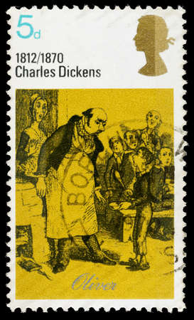 UNITED KINGDOM - CIRCA 1970: A used postage stamp printed in Britain showing Oliver from the book Oliver Twist by Charles Dickens, circa 1970