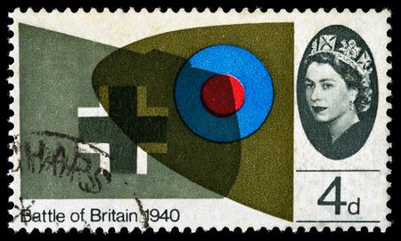 wingtips: UNITED KINGDOM - CIRCA 1965: A used postage stamp printed in Britain celebrating the 25th Anniversary of the Battle of Britain showing the Wingtips of a Supermarine Spitfire and Messerschmitt, circa 1965 Editorial